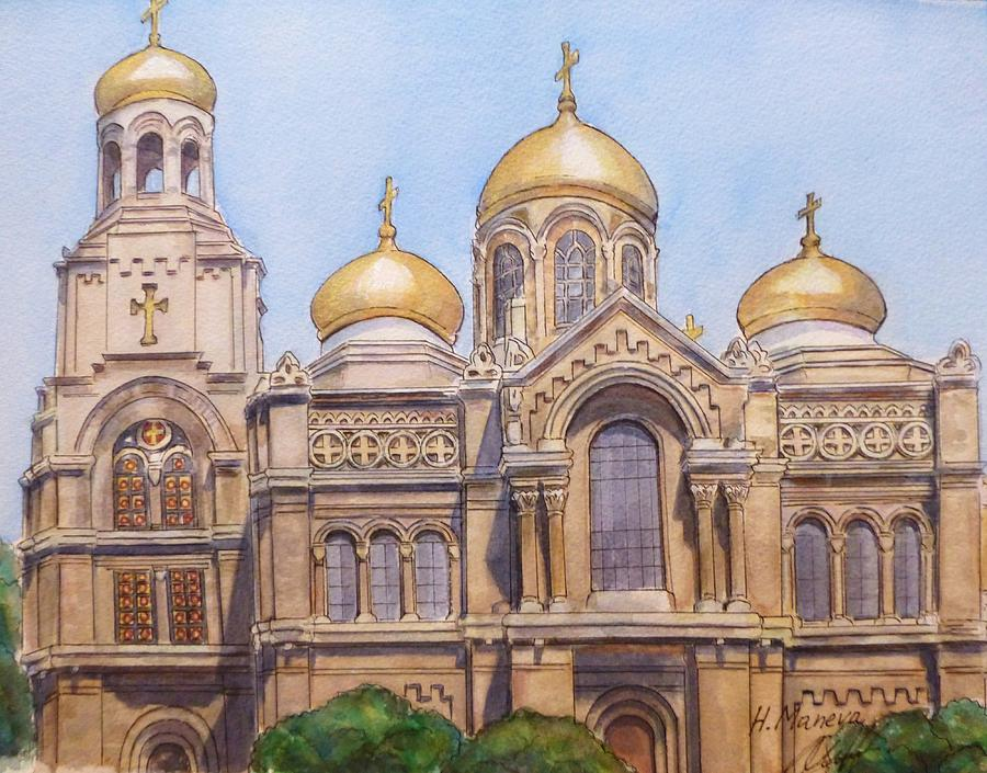 Architecture Painting - The Dormition Of The Mother Of God Cathedral  Varna Bulgaria by Henrieta Maneva