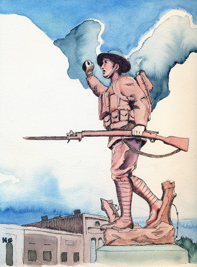 The Doughboy Stands Painting  - The Doughboy Stands Fine Art Print