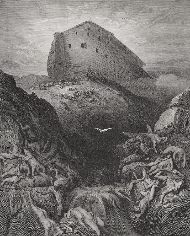Noah's Painting - The Dove Sent Forth From The Ark by Gustave Dore