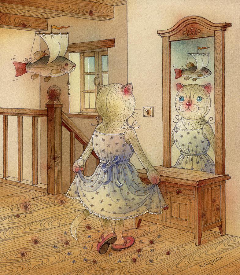 Cat Dream Blue Fish Room Fantasy Mirror Painting - The Dream Cat 11 by Kestutis Kasparavicius