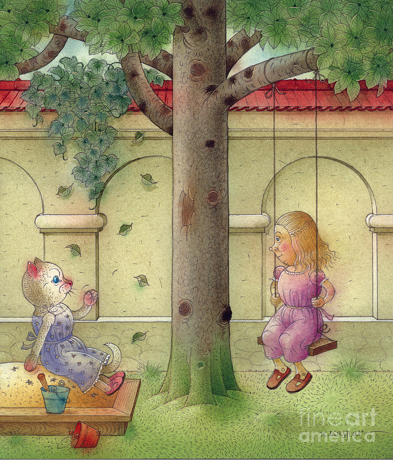 Cat Girl Garden Tree Green Children Painting - The Dream Cat 14 by Kestutis Kasparavicius