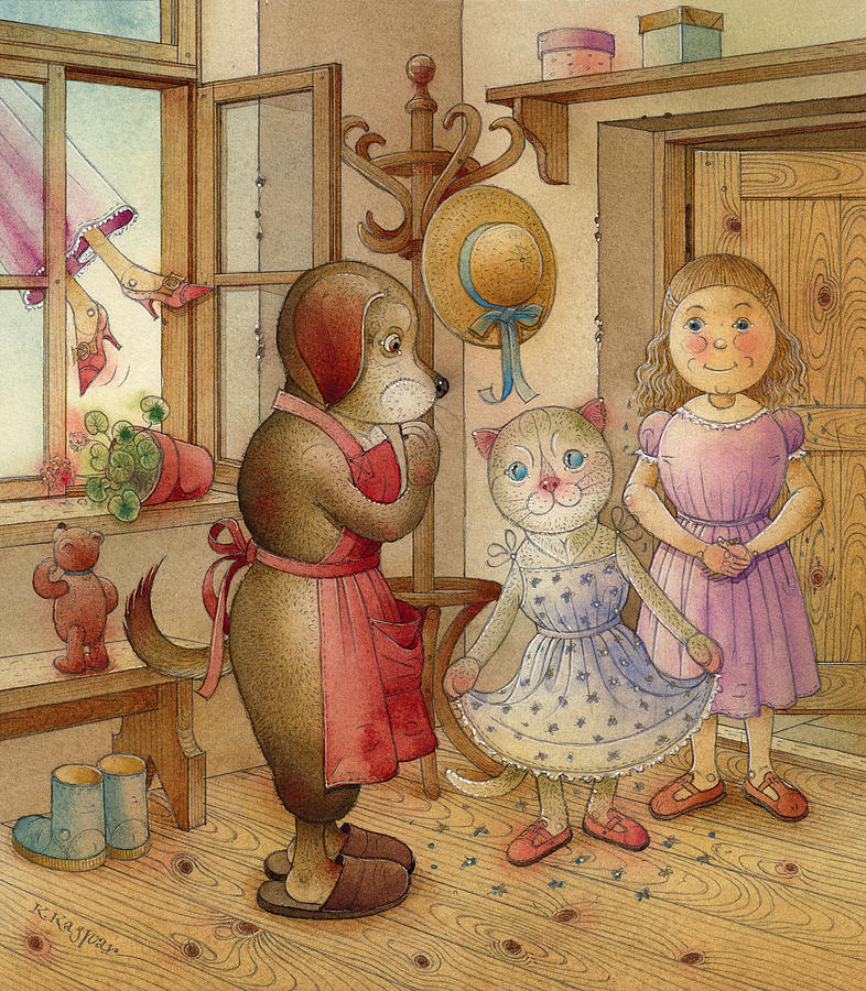 Dog Gurl Cat Fantasy Blue Rose Red Brown Painting - The Dream Cat 19 by Kestutis Kasparavicius