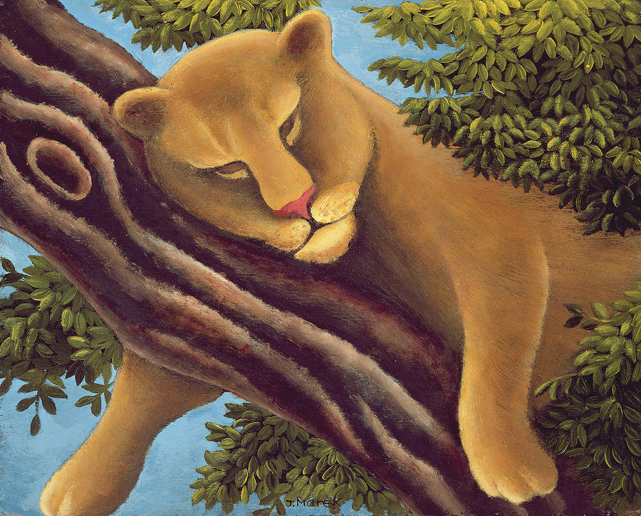 Lion; Branch; Sleeping Painting - The Dream by Jerzy Marek