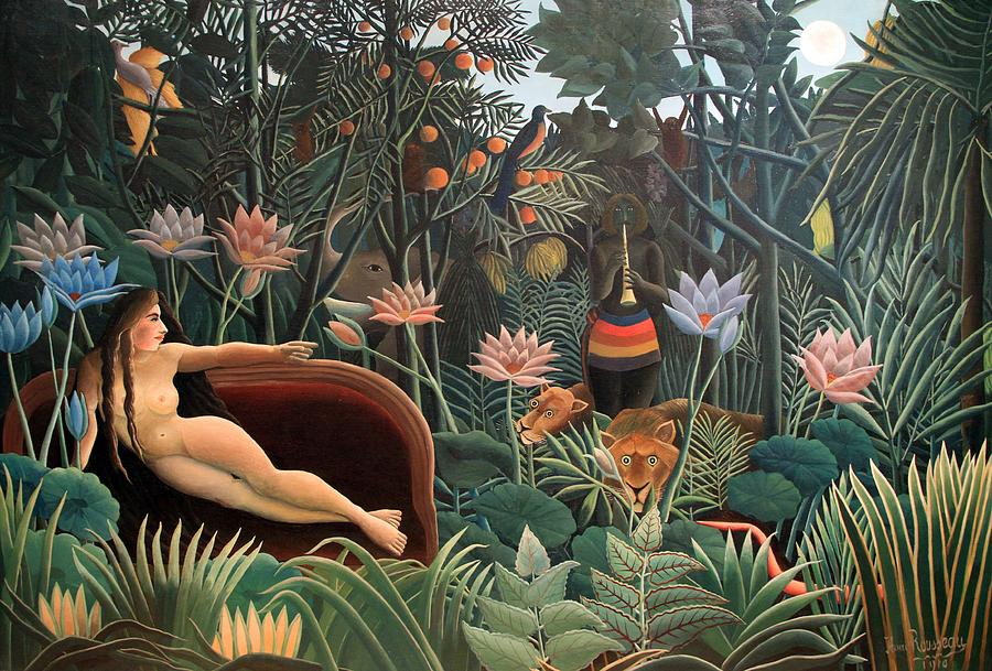 Jungle shower curtain - The Dream Jungle Flowers Surrealism Naive Art Painting By Masterpieces