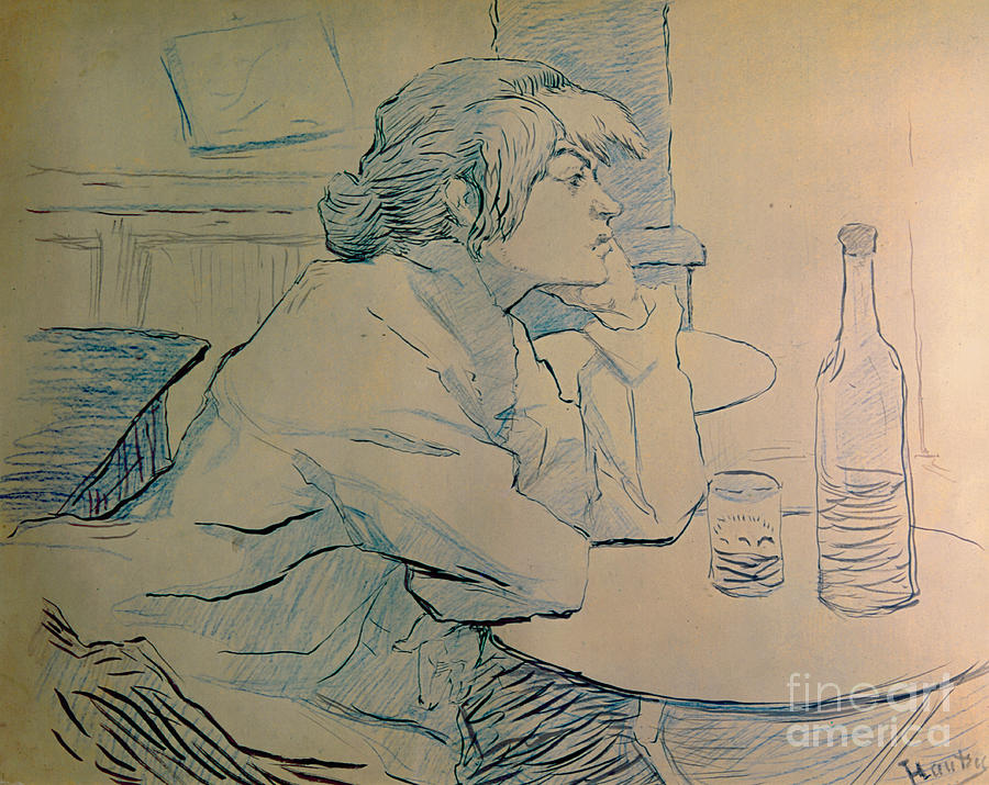 Toulouse-lautrec Painting - The Drinker Or An Hangover by Henri de Toulouse-lautrec