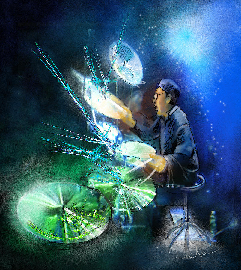 The Drummer 01 Painting By Miki De Goodaboom