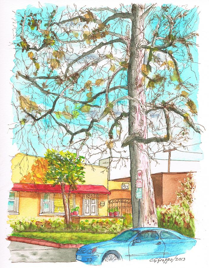The Dry Tree In The Yellow House - Hollywood - California Painting