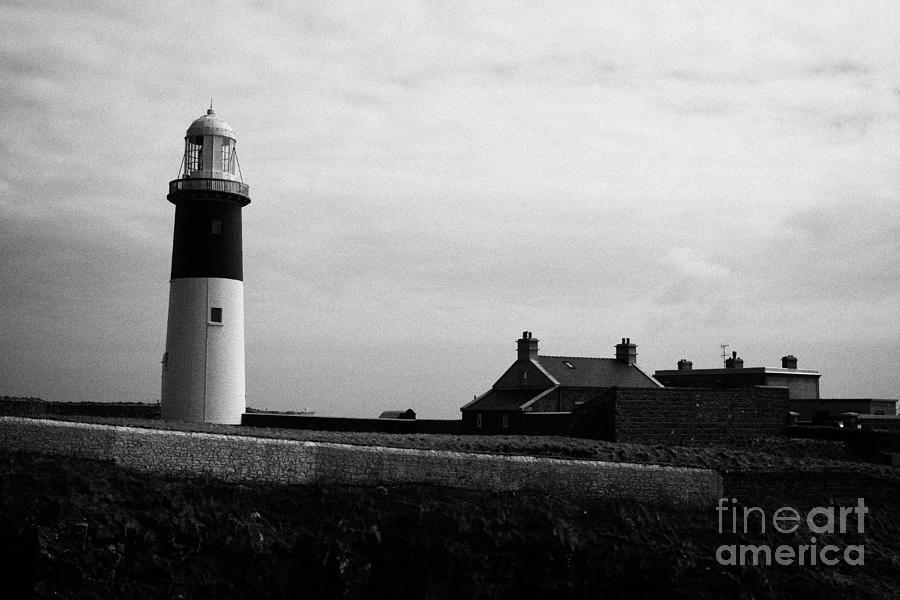 Ireland Photograph - The East Light Lighthouse And Buildings Altacarry Altacorry Head Rathlin Island Against Grey Cloudy  by Joe Fox