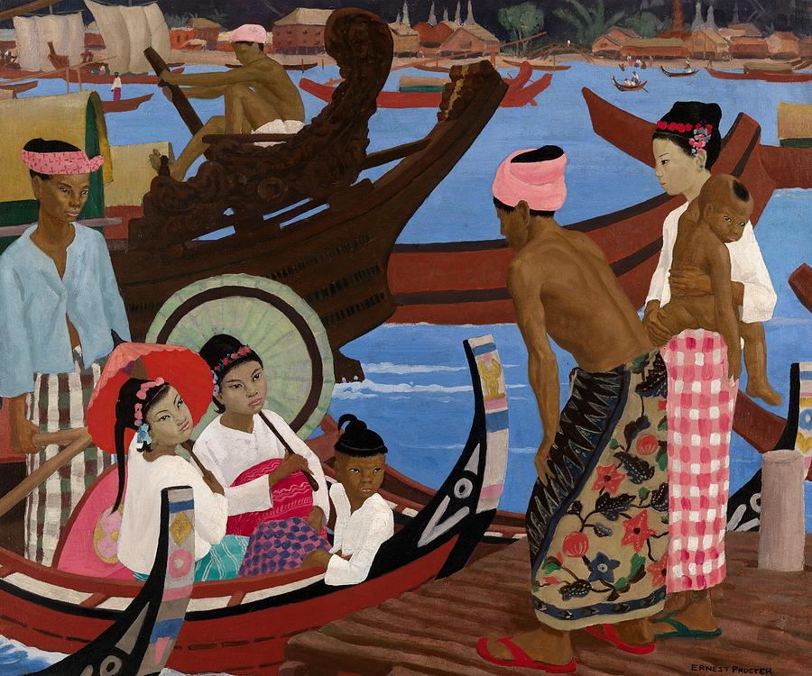 Burma; Burmese; Male; Female; Asia; Asian; Boat; Embarking; Embarkation; Leaving; Departing; Child; Coast; Coastal; Harbour; Sea; Boats; Travel Painting - The Embarkation 1920s by Ernest Procter
