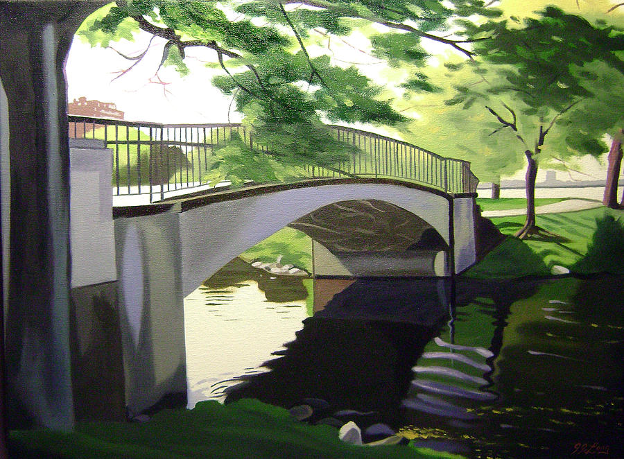 The Enchanted River Bridge 1 Painting  - The Enchanted River Bridge 1 Fine Art Print