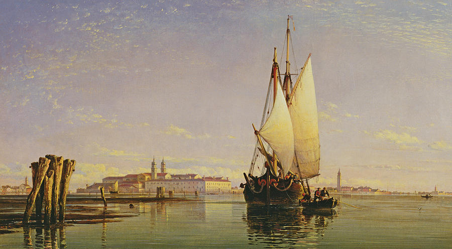 Lagoon Painting - The Euganean Hills And The Laguna Of Venice - Trabaccola Waiting For The Tide Sunset by Edward William Cooke
