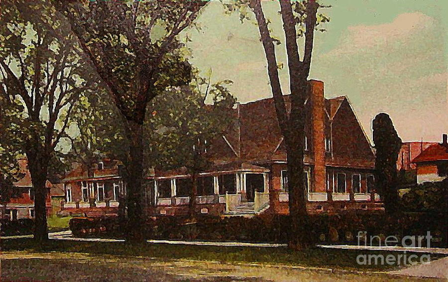The Evanston Club In Evanston Il In 1910 Painting  - The Evanston Club In Evanston Il In 1910 Fine Art Print