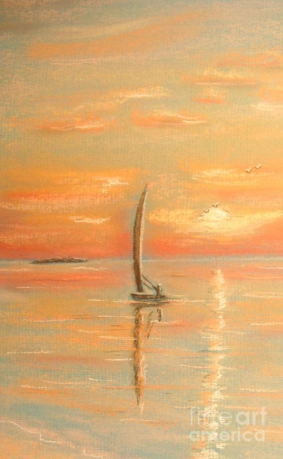 Tropical Painting - The Evening Light by The Beach  Dreamer
