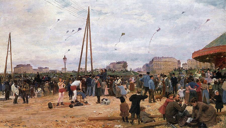 The Fairgrounds At Porte De Clignancourt Digital Art - The Fairgrounds At Porte De Clignancourt Paris by Victor Gabriel Gilbert