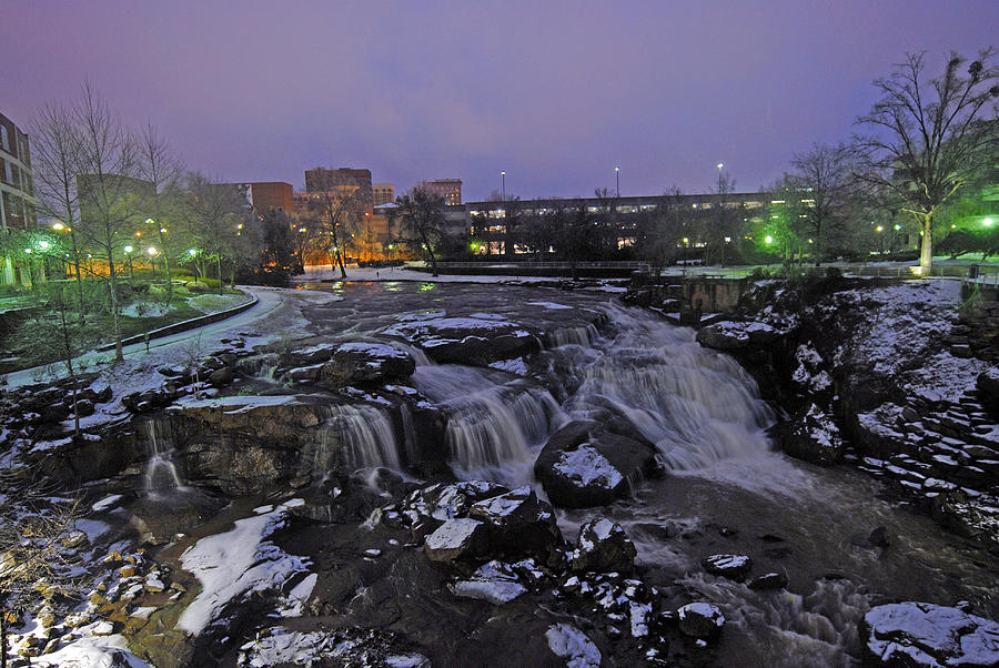 The Falls In Downtown Greenville Sc After A Light Snow Fall Photograph  - The Falls In Downtown Greenville Sc After A Light Snow Fall Fine Art Print