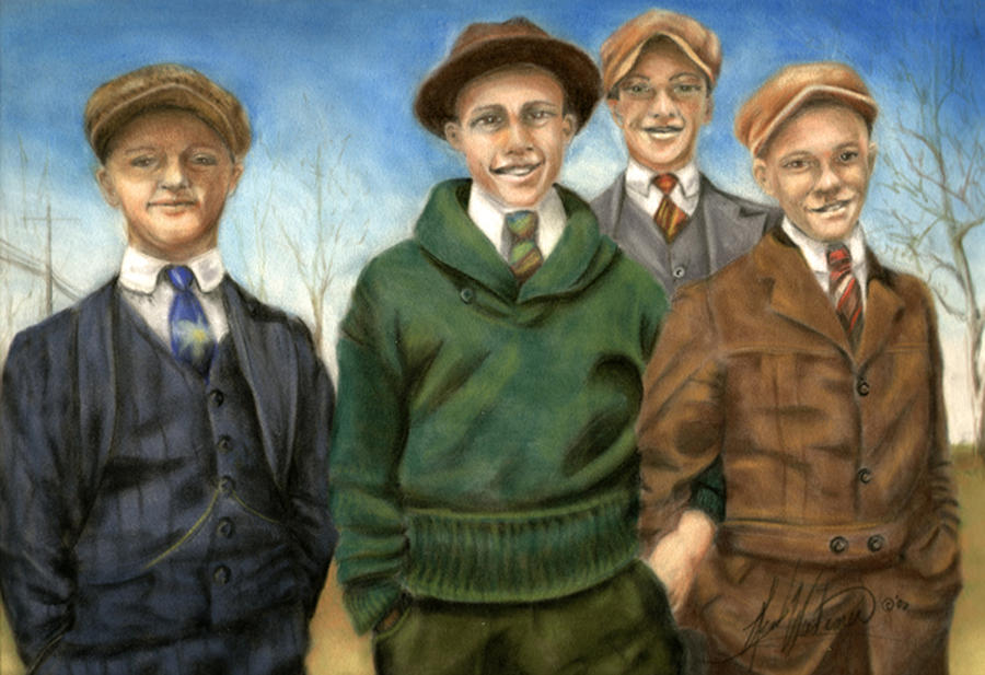 The Fellas Pastel  - The Fellas Fine Art Print