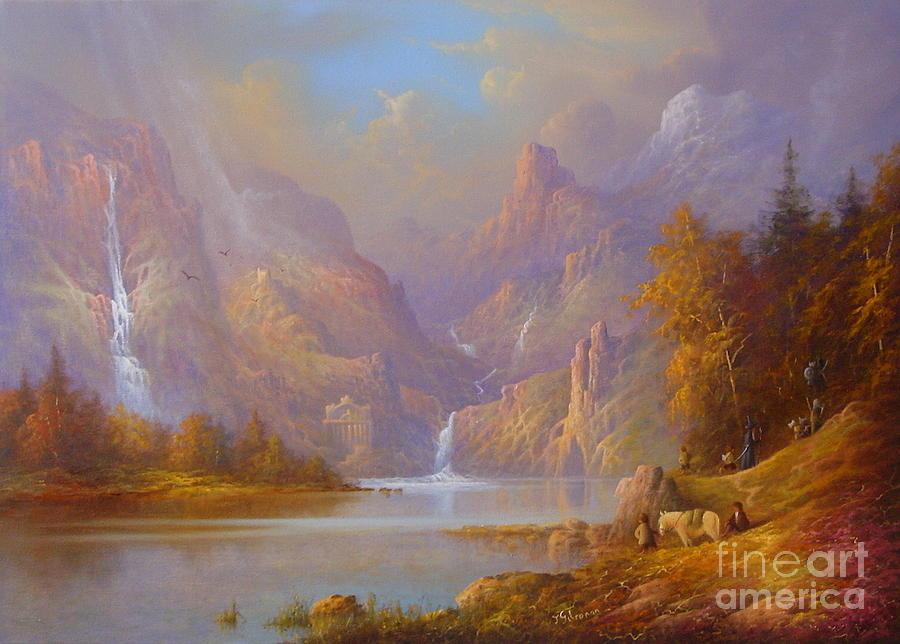 Tolkien Painting - The Fellowship Doors Of Durin Moria.  by Joe  Gilronan