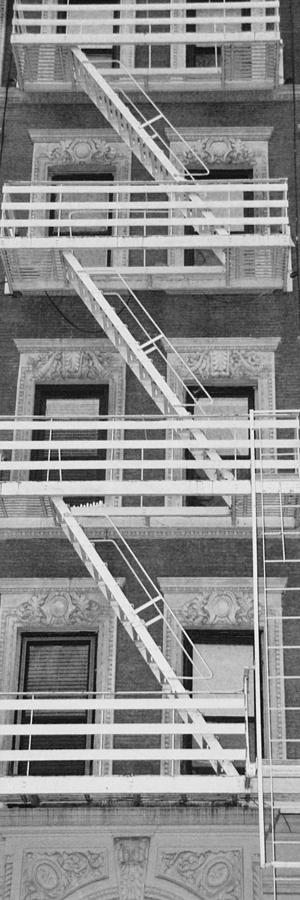 Scenic Photograph - The Fire Escape In Black And White by Rob Hans