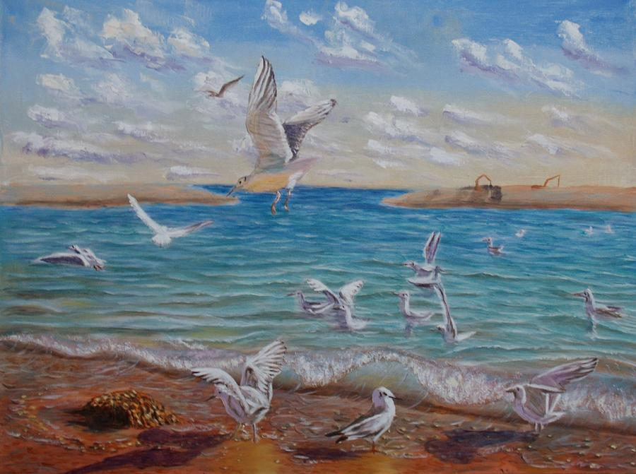 Sea Painting - The First Inhabitants Of The New Land by Elena Sokolova