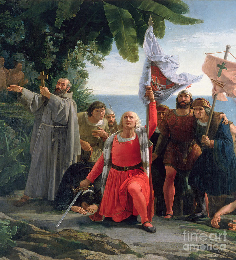 The First Landing Of Christopher Columbus In America Painting  - The First Landing Of Christopher Columbus In America Fine Art Print