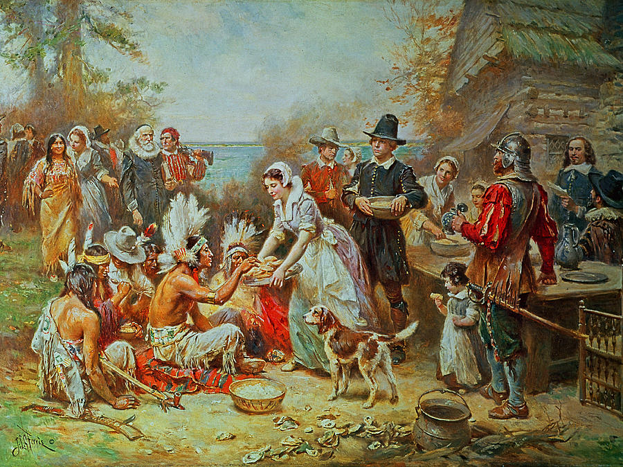 The First Thanksgiving (oil On Canvas) Feast; Native American Indian; Settlers; America; Pilgrim; Fathers; Peaceful; Friendly; Offering; Peace; Harmony; Harmonious; Coexistence; Holiday Painting - The First Thanksgiving by Jean Leon Gerome Ferris