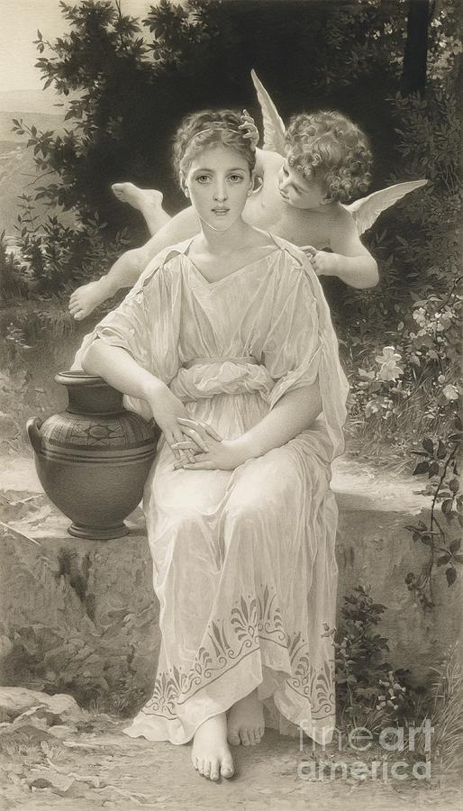 The First Whisper Of Love After Bouguereau Drawing  - The First Whisper Of Love After Bouguereau Fine Art Print