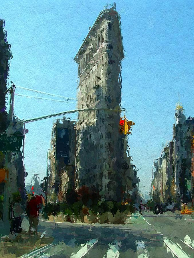 Urban Flatrion New York City Nyc Big Apple America Symbol Architecture Cityscape Expressionism Street Skyscraper  Painting - The Flatrion by Stefan Kuhn