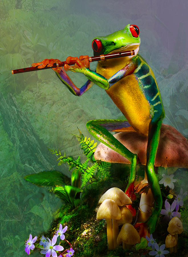 The Flute Playing Tree Frog Painting  - The Flute Playing Tree Frog Fine Art Print