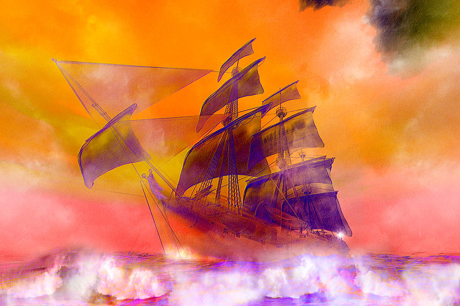The Flying Dutchman Ghost Ship Digital Art  - The Flying Dutchman Ghost Ship Fine Art Print