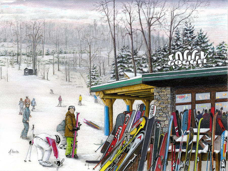 The Foggy Goggle At Seven Springs Painting
