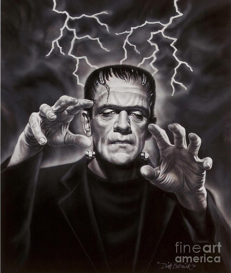 Portrait Painting - The Frankenstein Monster by Dick Bobnick