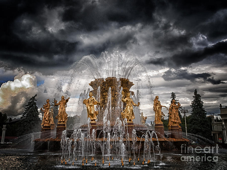 The Friendship Fountain Moscow Photograph  - The Friendship Fountain Moscow Fine Art Print
