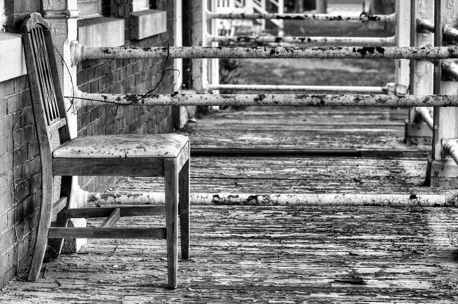 The Chair Photograph - The Front Porch Bw by JC Findley