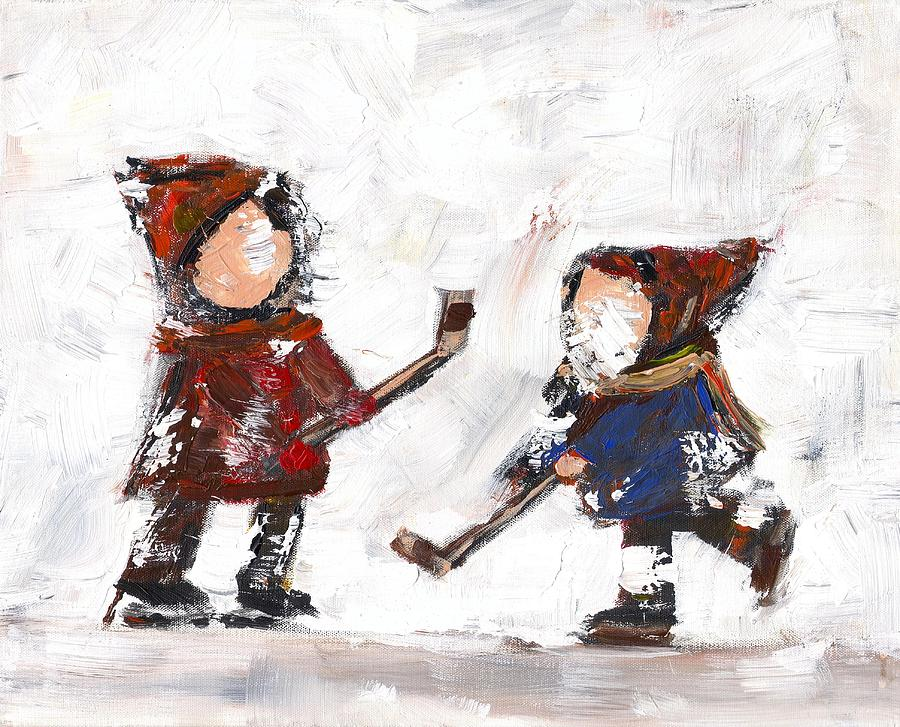 Hockey Painting - The Game by David Dossett
