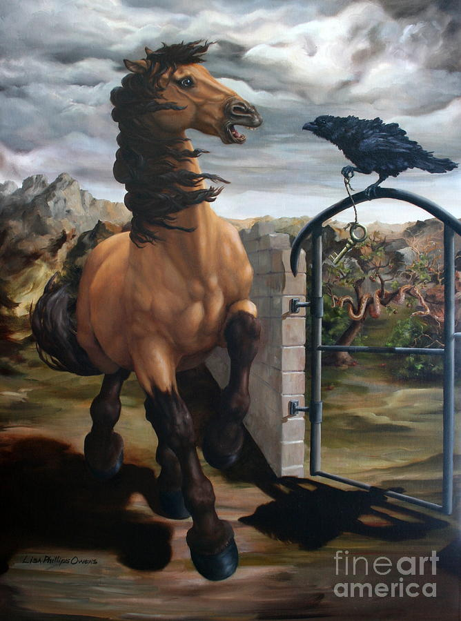 Equine Art Painting - The Gatekeeper by Lisa Phillips Owens