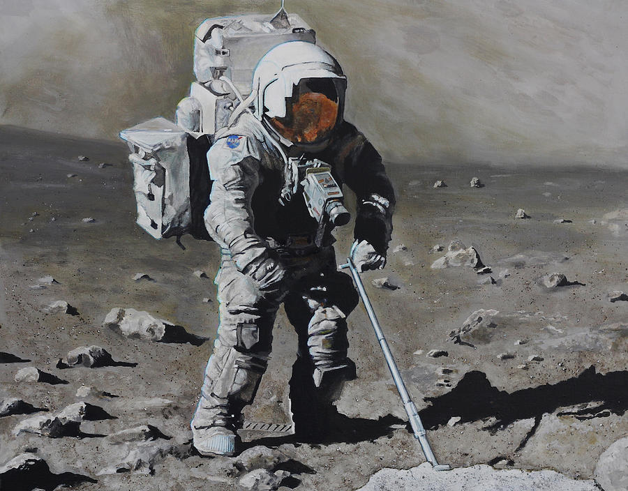 The Geologist- Harrison Schmitt. Apollo 17 Painting  - The Geologist- Harrison Schmitt. Apollo 17 Fine Art Print
