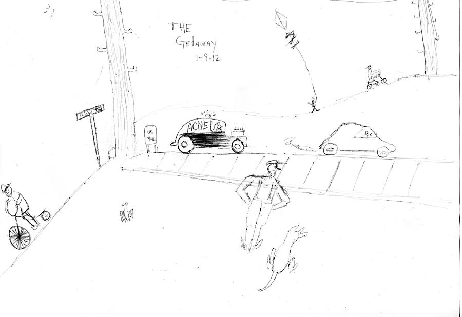 The Getaway Drawing  - The Getaway Fine Art Print