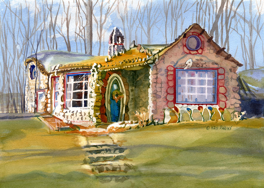 Kris Parins Painting - The Gingerbread House by Kris Parins