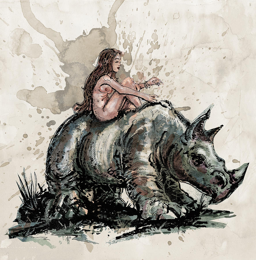 The Girl And The Rhino Drawing  - The Girl And The Rhino Fine Art Print
