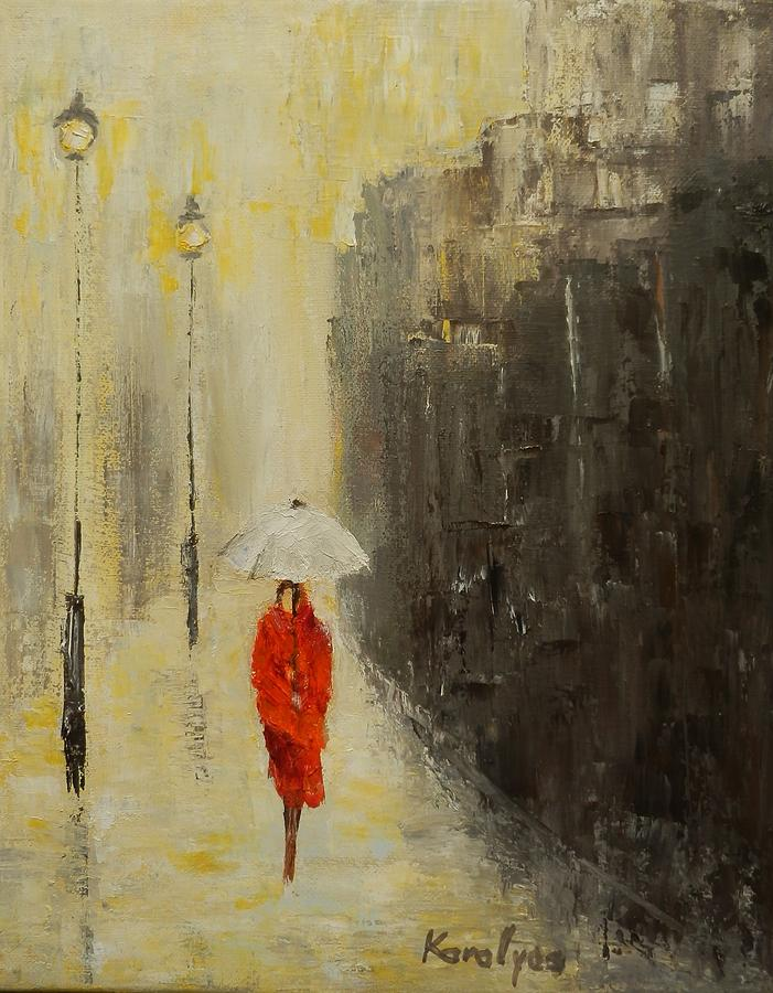 The Girl With White Umbrella Painting by Maria Karalyos