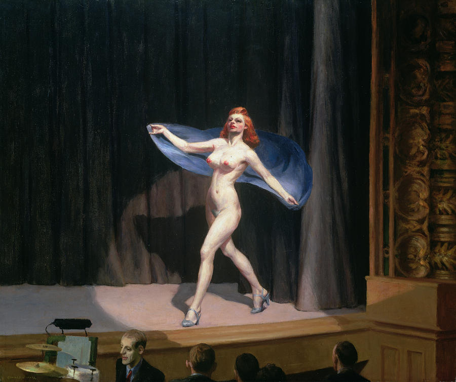 Female Painting - The Girlie Show by Edward Hopper