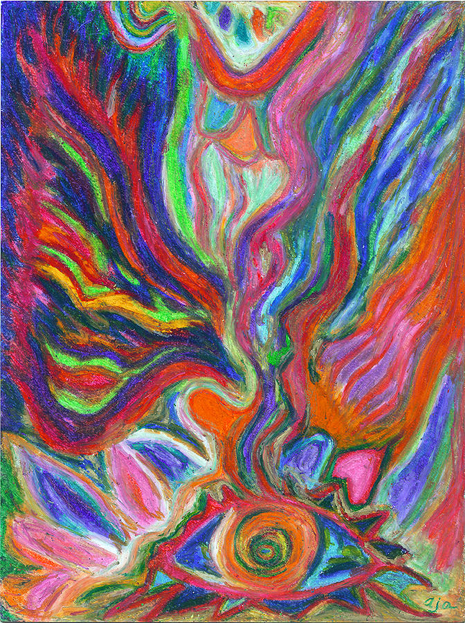 The Goddess And The Eye Pastel  - The Goddess And The Eye Fine Art Print