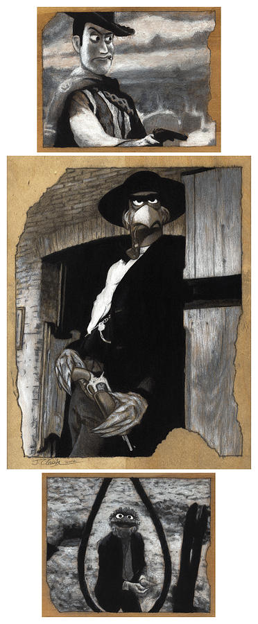 Clint Eastwood Drawing - The Good The Bad And The Grouchy by Justin Clark