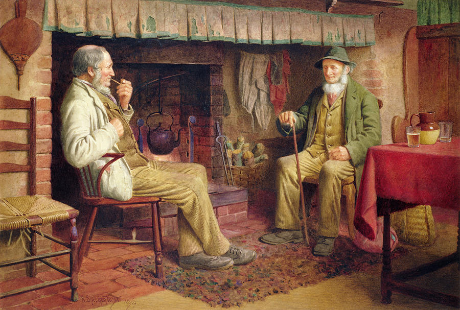 Old Man Painting - The Gossip by Henry Spernon Tozer