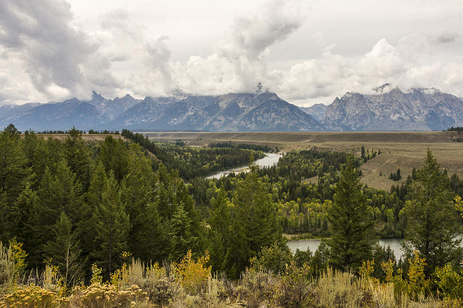 The Grand Tetons Over Snake River - Grand Teton National Park - Wyoming Photograph