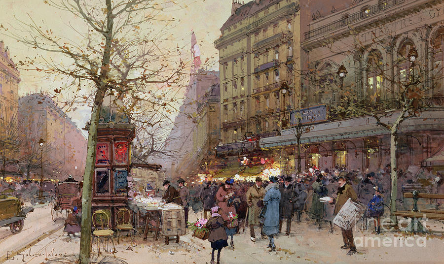 Street Painting - The Great Boulevards by Eugene Galien-Laloue