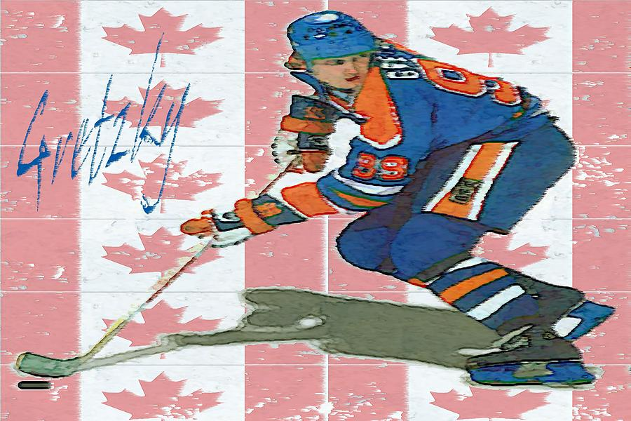 The Great Gretzky - Hockey Canada Poster Drawing  - The Great Gretzky - Hockey Canada Poster Fine Art Print