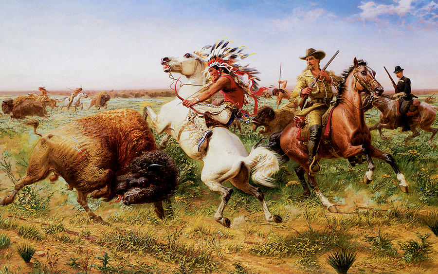 The Great Royal Buffalo Hunt Painting  - The Great Royal Buffalo Hunt Fine Art Print