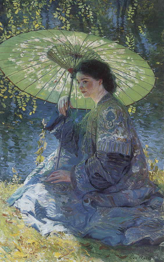 The Green Parasol Painting By Guy Rose