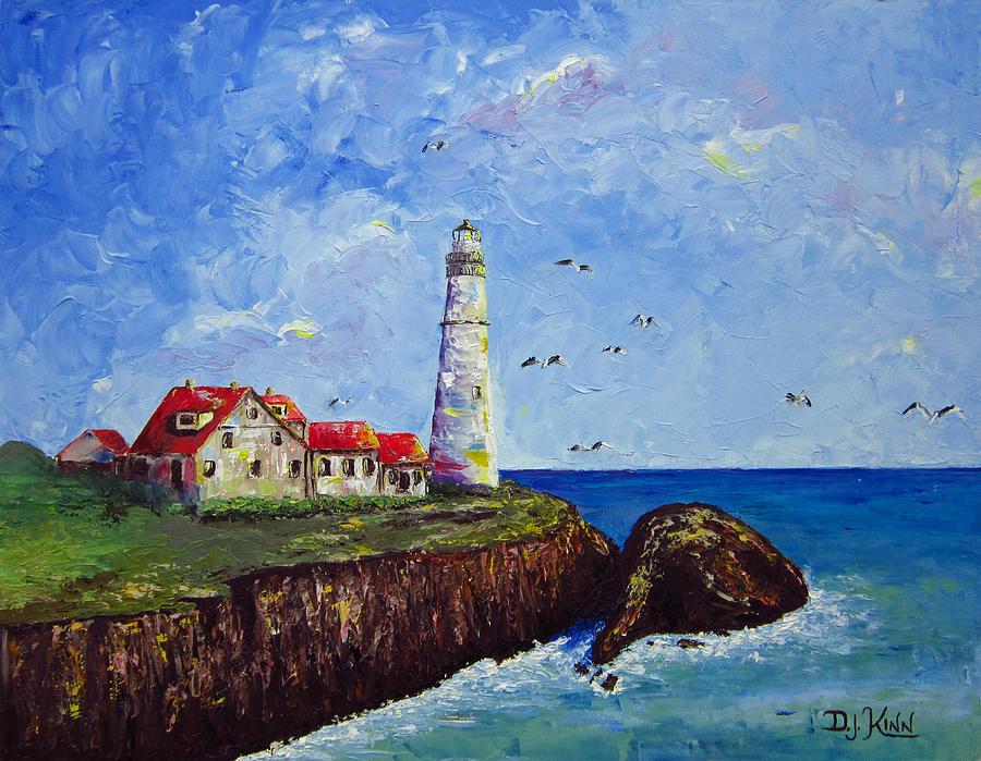 Lighthouse Painting - The Guardian by Dottie Kinn
